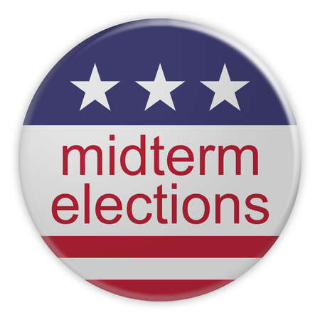 USA Politics News Badge: Midterm Elections Button With US Flag, 3d illustration, Isolated Against White Background Stock Photo