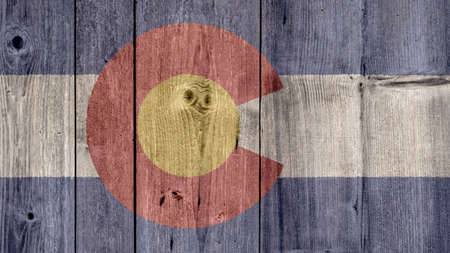 USA Politics News Concept: US State Colorado Flag Wooden Fence Stock Photo