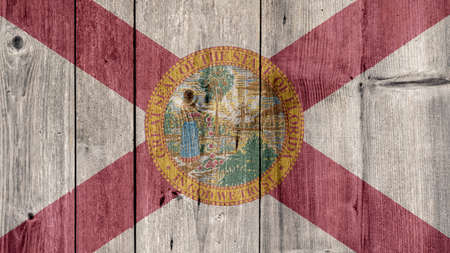 USA Politics News Concept: US State Florida Flag Wooden Fence Stock Photo