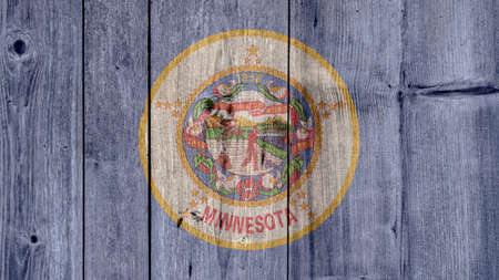 USA Politics News Concept: US State Minnesota Flag Wooden Fence Stock Photo