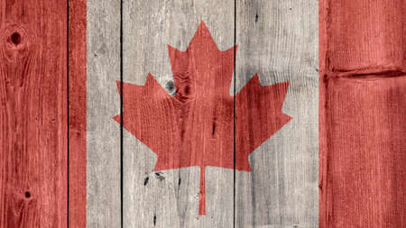 Canada Politics News Concept: Canadian Flag Wooden Fence Stock Photo