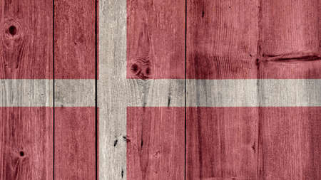 Denmark Politics News Concept: Danish Flag Wooden Fence