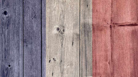 France Politics News Concept: French Flag Wooden Fence Stock Photo