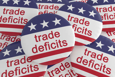USA Politics News Badges: Pile of Trade Deficits Buttons With US Flag, 3d illustration