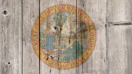 USA Politics News Concept: US State Florida Seal Wooden Fence Background Stock Photo