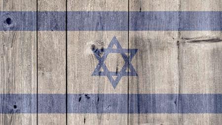 Israel Politics News Concept: Israeli Flag Wooden Fence Stock Photo