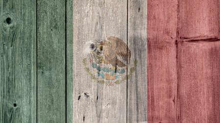 Mexico Politics News Concept: Mexican Flag Wooden Fence Stock Photo