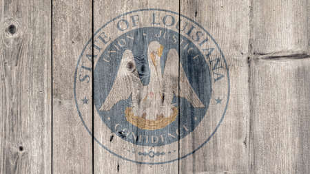 USA Politics News Concept: US State Louisiana Seal Wooden Fence Background
