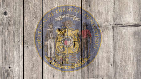 USA Politics News Concept: US State Wisconsin Seal Wooden Fence Background