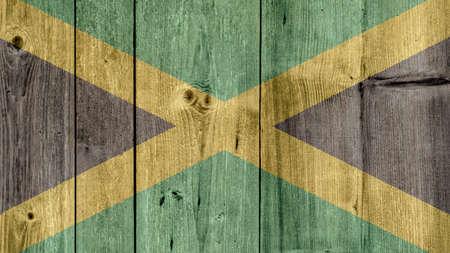 Jamaica Politics News Concept: Jamaican Flag Wooden Fence