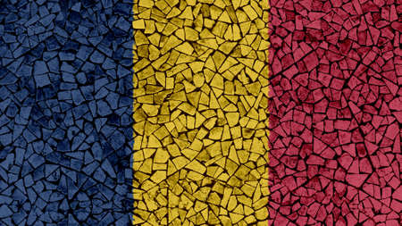 Mosaic Tiles Painting of Chad Flag, Background Texture Фото со стока