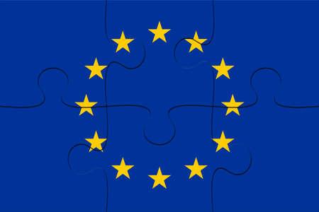 EU Flag Jigsaw Puzzle, 3d illustration background
