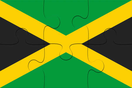 Jamaica Flag Jigsaw Puzzle, 3d illustration background