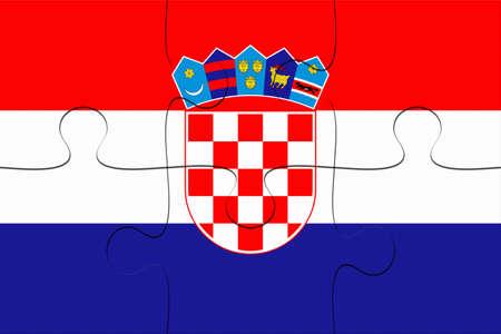Croatia Flag Jigsaw Puzzle, 3d illustration background Stock Photo
