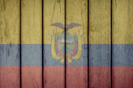 Ecuador Politics News Concept: Ecuadorian Flag Wooden Fence