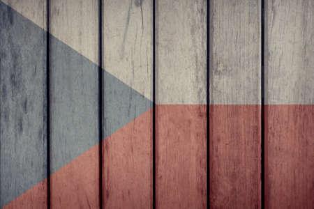 Czech Republic Politics News Concept: Czech Flag Wooden Fence