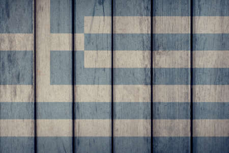 Greece Politics News Concept: Greek Flag Wooden Fence