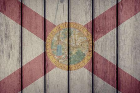 USA Politics News Concept: US State Florida Flag Wooden Fence Stock Photo