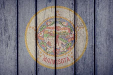 USA Politics News Concept: US State Minnesota Flag Wooden Fence Stock Photo