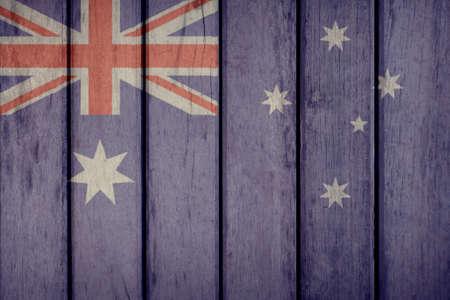 Australia Politics News Concept: Australian Flag Wooden Fence