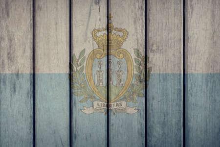 Politics News Concept: San Marino Flag Wooden Fence