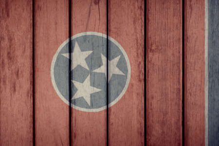 USA Politics News Concept: US State Tennessee Flag Wooden Fence Stock Photo