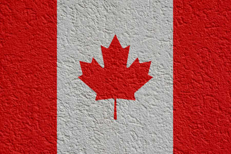 Canada Politics Or Business Concept: Canadian Flag Wall With Plaster, Background Texture