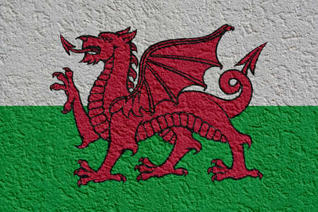 Wales Politics Or Business Concept: Welsh Flag Wall With Plaster, Background Texture