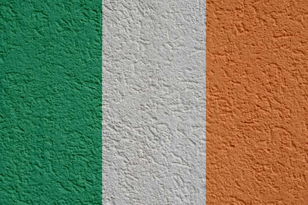 Ireland Politics Or Business Concept: Irish Flag Wall With Plaster, Background Texture