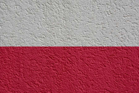 Poland Politics Or Business Concept: Polish Flag Wall With Plaster, Background Texture