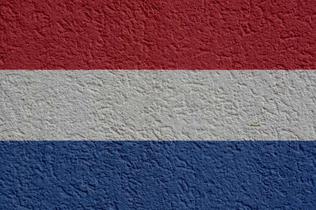 The Netherlands Politics Or Business Concept: Dutch Flag Wall With Plaster, Background Texture