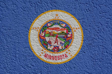 US State Politics Or Business Concept: Minnesota Flag Wall With Plaster, Background Texture
