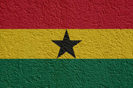 Ghana Politics Or Business Concept: Ghanaian Flag Wall With Plaster, Background Texture