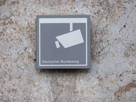 BERLIN, GERMANY - MARCH 31, 2019: Surveillance Concept: Monitoring Sign At Deutscher Bundestag, German Federal Parliament In Berlin, Germany