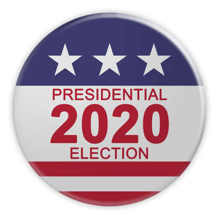 USA Politics News Badge: 2020 Presidential Election Button With US Flag, 3d illustration Isolated On White Background 写真素材