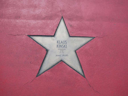 BERLIN, GERMANY - MAY 4, 2019: Star of Klaus Kinski At Boulevard der Stars, Walk of Fame In Berlin, Germany