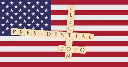 Concetto di notizie di politica degli Stati Uniti: Elezioni presidenziali 2020 delle mattonelle della lettera con la bandiera degli Stati Uniti, illustrazione 3d Archivio Fotografico