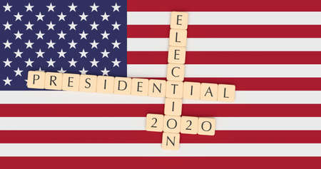 USA Politics News Concept: Letter Tiles Presidential Election 2020 With US Flag, 3d illustration