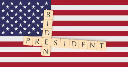 BERLIN, GERMANY - MAY 11, 2019: USA Presidential Election 2020 Candidate: Joe Biden Running For President, Letter Tiles With US Flag, 3d illustration