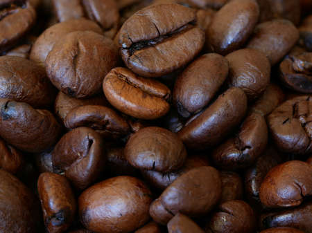 Close-up of Roasted Coffee Beans, Background