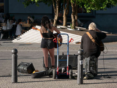 BERLIN, GERMANY - JUNE 29, 2019: Street Musicians Near Zoologischer Garten Station In Berlin, Germany In The Evening In Summer