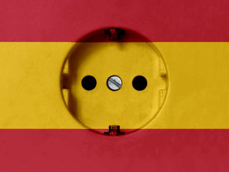 Electricity Concept: Dirty Type F Power Socket With Spain Flag