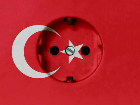 Electricity Concept: Dirty Type F Power Socket With Turkey Flag Banco de Imagens