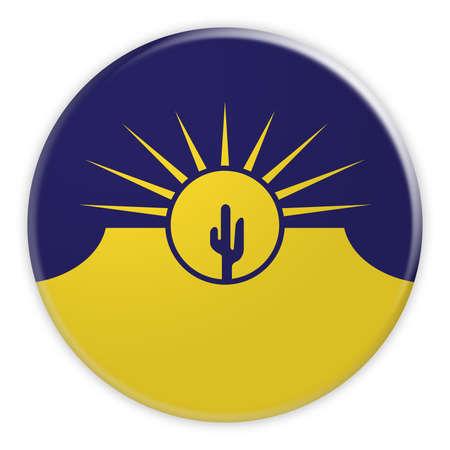 US City Button: Mesa Flag Badge, 3d illustration on white background
