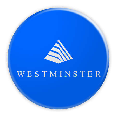US City Button: Westminster Flag Badge, 3d illustration on white background Фото со стока