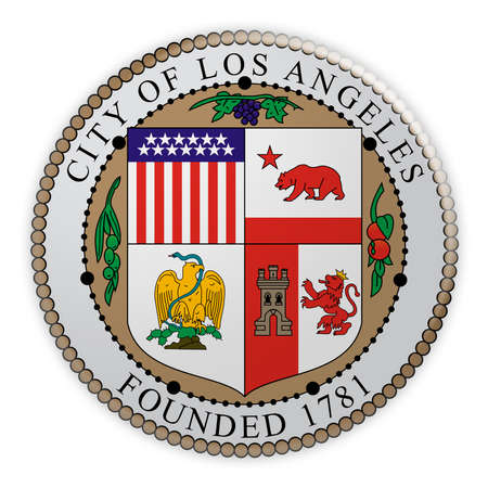 US City Button: Los Angeles, California, Seal Badge, 3d illustration on white background