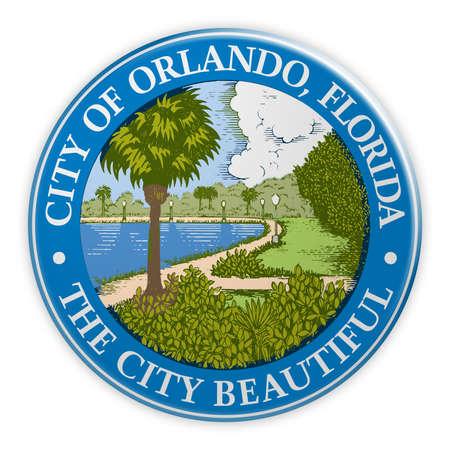 US City Button: Orlando, Florida, Seal Badge, 3d illustration on white background