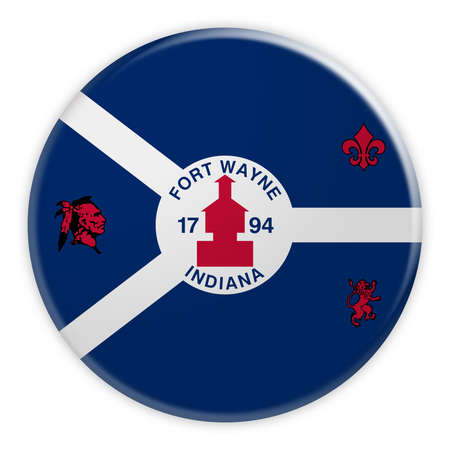 US City Button: Fort Wayne, Indiana Flag Badge, 3d illustration on white background