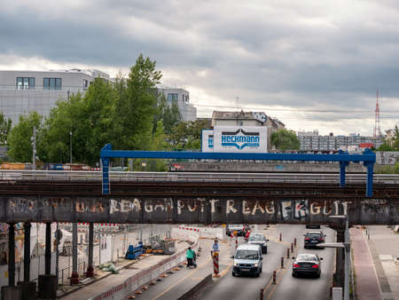 BERLIN, GERMANY - JULY 16, 2019: Traffic At The Yorckbruecken, Historic Railway Bridges Spanning Over Yorckstrasse In Berlin, Germany Redakční
