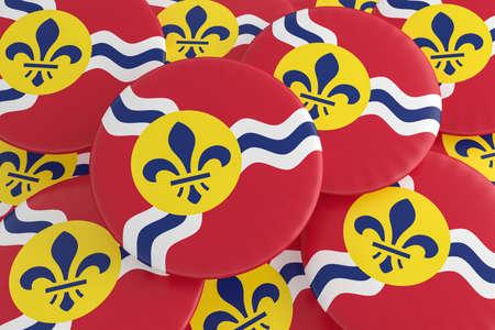 US City Buttons: Pile of Saint Louis, Missouri Flag Badges, 3d illustration Zdjęcie Seryjne